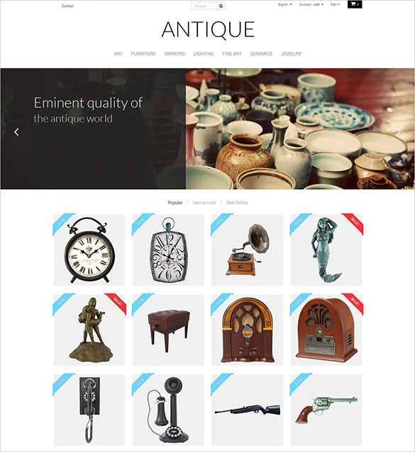 simple antique store prestashop theme
