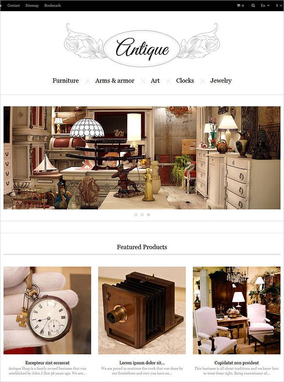 beautiful antique store prestashop template