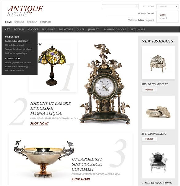 white background antique store prestashop template