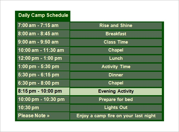 outing daily camp schedule template word doc