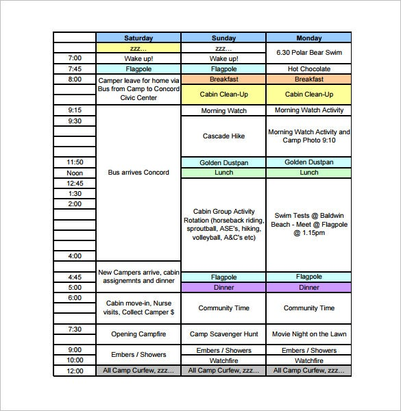youth camp chids schedule template free pdf