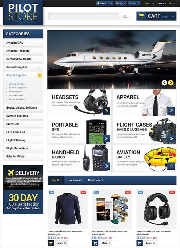 pilot store transportation prestashop theme