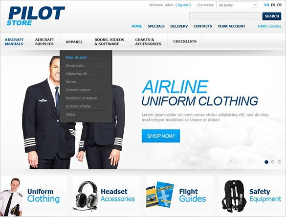 simple pilot store transportation prestashop theme
