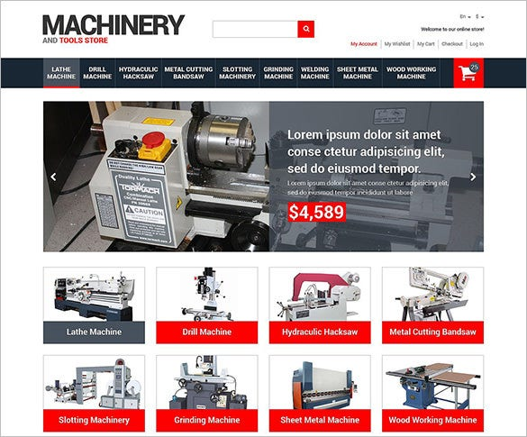 tools equipment responsive magento theme