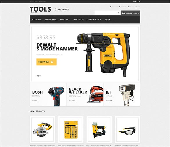 tools equipment responsive magento template