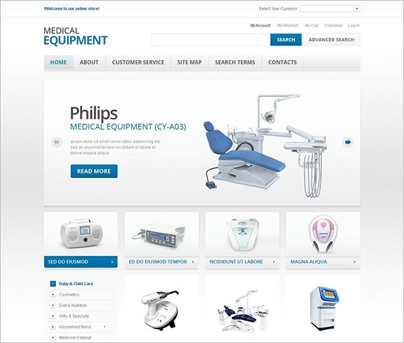 medical equipment magento template
