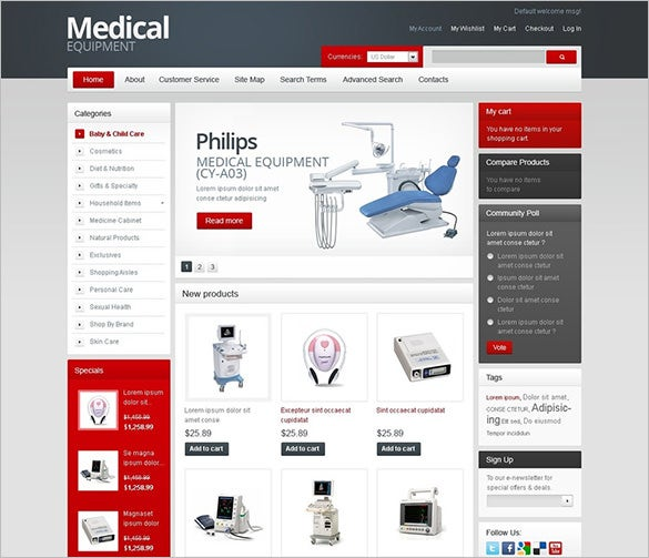 equipment for hospitals magento theme