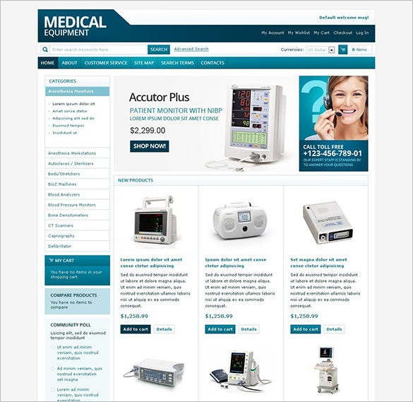 magento theme for medical equipment