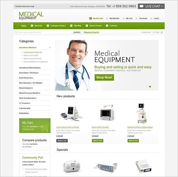 magento template for medical equipment