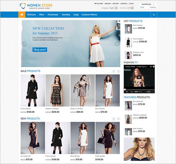 women fashion store responsive magento theme
