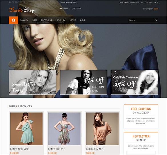 classicshop responsive fashion magento theme