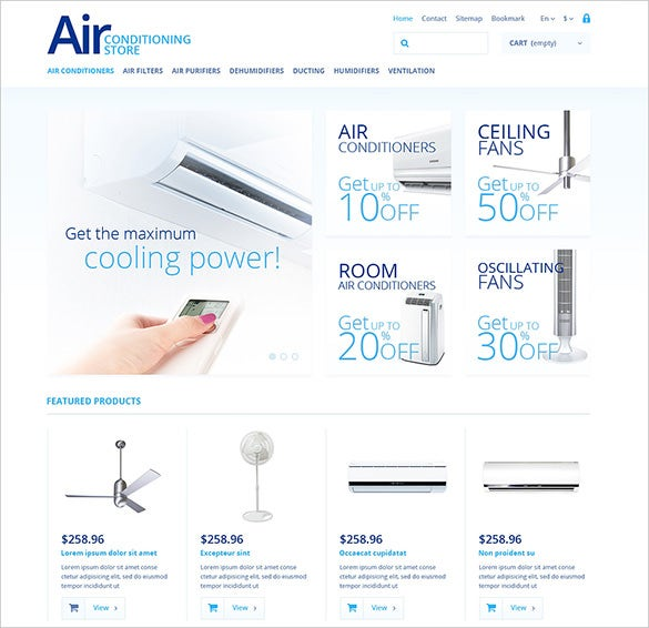 air conditioner store maintenance prestashop template
