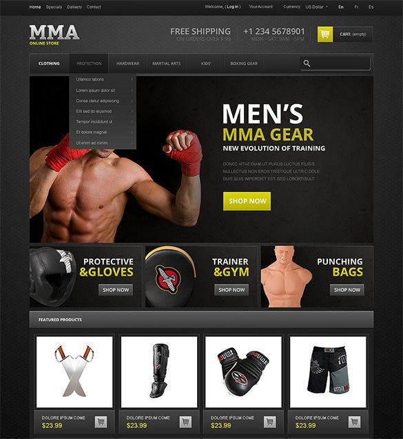 martial arts store prestashop theme