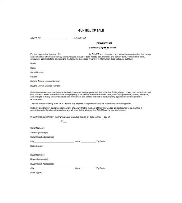 Gun Bill Of Sale Template   Free Word Excel Pdf Format