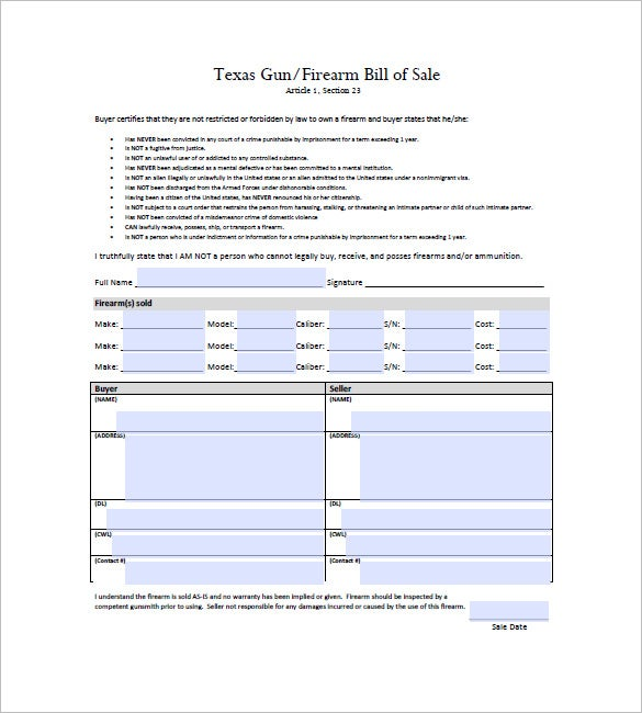 firearm bill of sale template Gun Bill of Sale – 10  Free Sample, Example, Format Download! | Free ...