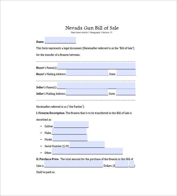 Gun Bill Of Sale   Free Sample Example Format Download