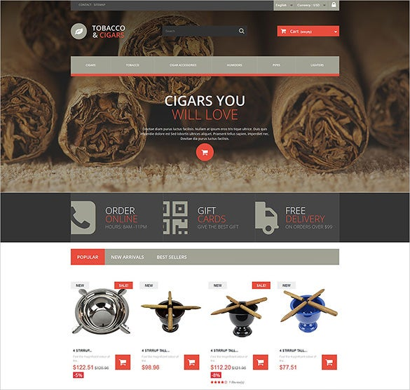 cigars tobacco prestashop theme