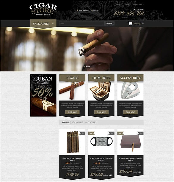 premium cigars tobacco prestashop theme