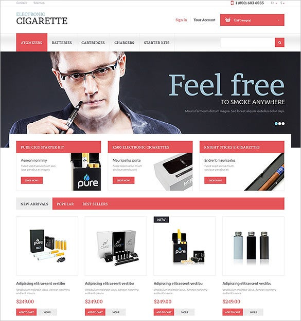 electronic cigarette tobacco prestashop theme