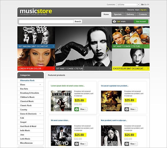 amazing music store prestashop theme
