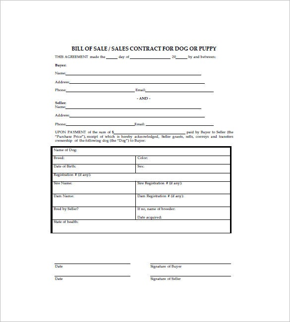 Bill Of Sale Agreement Template