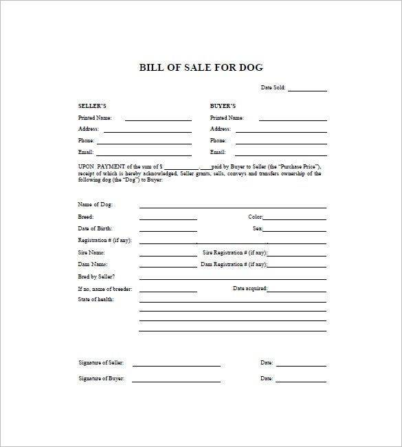 pet bill of sale template has the details of the buyer and the seller on the top followed by the details of the dog such as its age state of health name