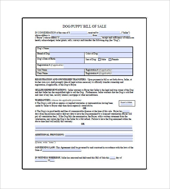 Dog Bill Of Sale   Free Sample Example Format Download