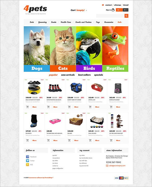 pet shop responsive prestashop theme