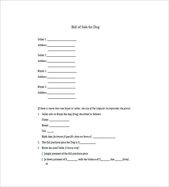 Dog Bill Of Sale Template – 8+ Free Word, Excel, Pdf Format