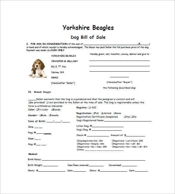 Dog Bill Of Sale Template   Free Word Excel Pdf Format