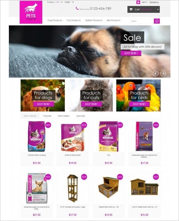 pets store responsive prestshop template