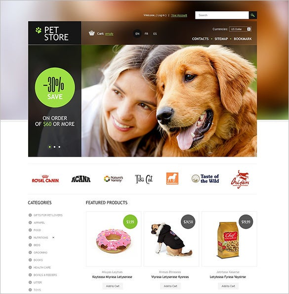 pet store prestashop template