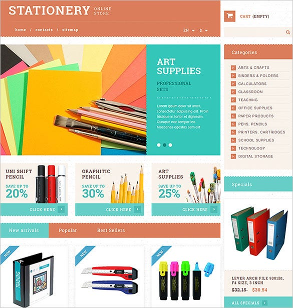 10 stationery prestashop themes templates free for Presta shop templates