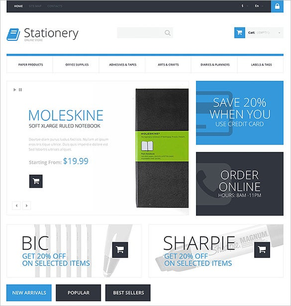 beautiful online stationery prestashop template