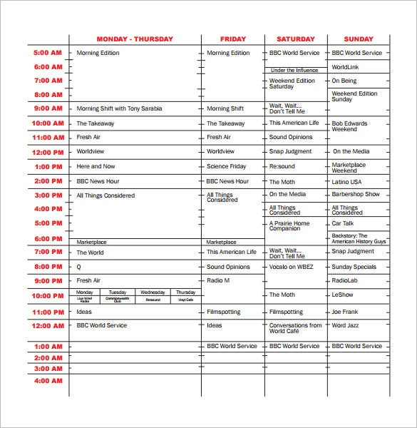 11 program schedule templates doc pdf free premium for Radio schedule template