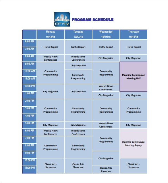 timetable outline template - 11 program schedule templates doc pdf free premium