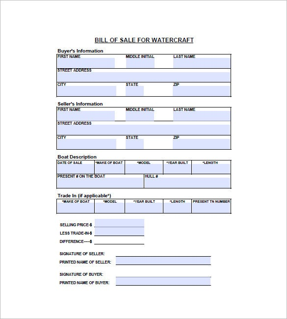 Watercraft Bill of Sale – 8+ Free Word, Excel, PDF Format Download ...