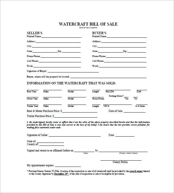 watercraft bill of sale 8 free word excel pdf format download