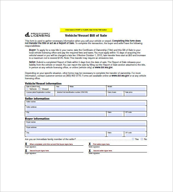 Watercraft Bill Of Sale   Free Word Excel Pdf Format Download