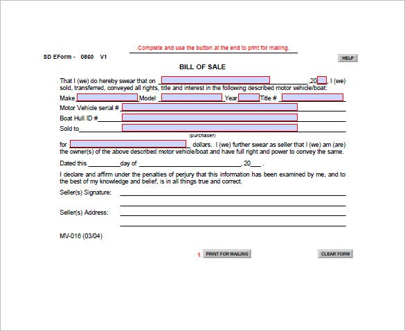 sample watercraft bill of sale template