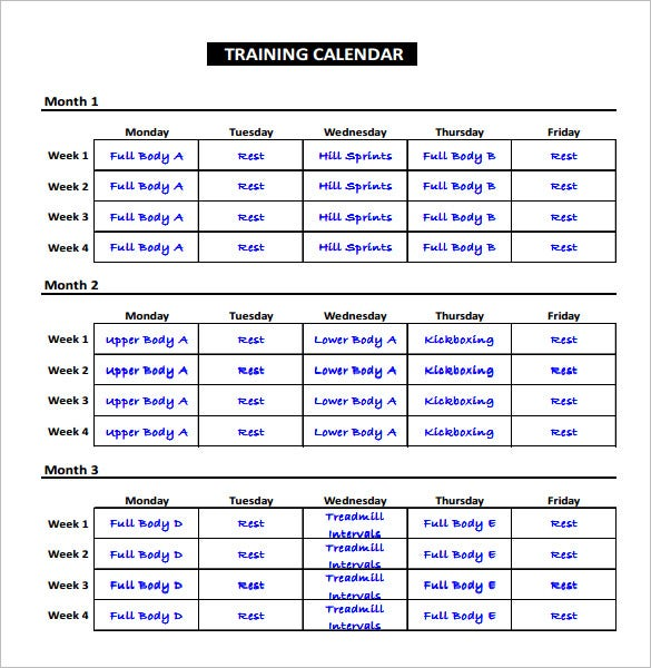 Exercise schedule template 7 free word excel pdf for Training calendars templates