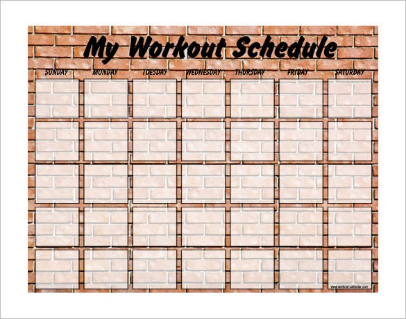 weekly blank exercise schedule template free pdf