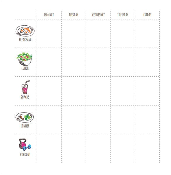 food planner after excercise schedule pdf download