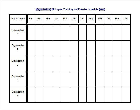 Exercise Schedule Template   Free Word Excel Pdf Format