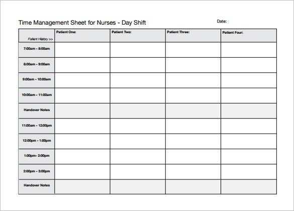time management sheet for nurses schedule template download