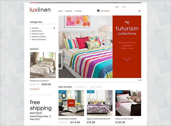 luxury linen store prestashop template