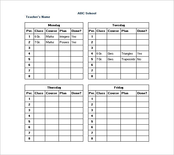Teacher Weekly Schedule Template Free Printable Class Schedule
