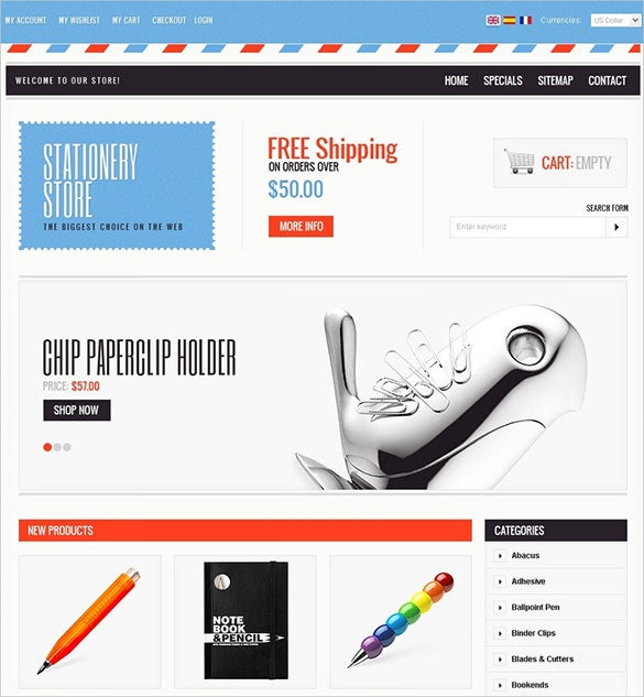 stationery store business services prestashop template