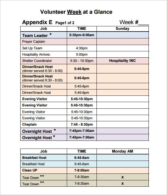 printable weekly volunteer schedule template free download