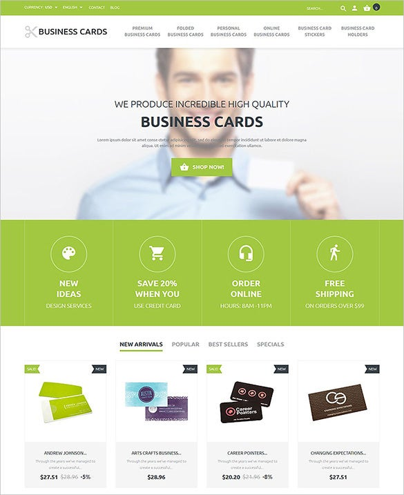 business cards services prestashop theme
